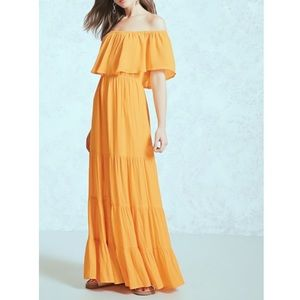 GOLDEN YELLOW MAXI SUNDRESS OFF THE SHOULDER SMALL